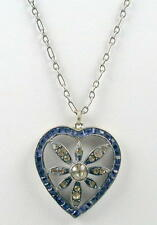 Germany Sapphire Blue & Clear Rhinestone Heart Pendant Necklace