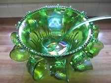 Vintage Indiana Glass Grape Harvest Green Carnival Glass Punch Set~EVC~