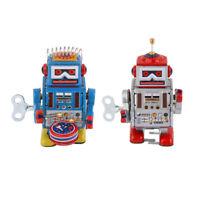 2 x Vintage Tin Robot Walking Wind Up Toy Set