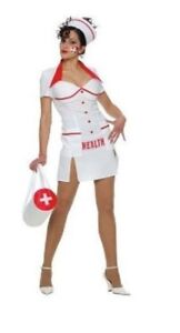 Ladies White Sexy Health Nurse Hospital Uniform Dress Fancy Dress Size 14-16