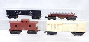 4 Marx Trains Freight Cars Electric Log Dump Car Working O Scale