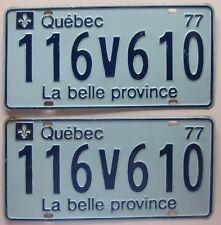 Quebec 1977 License Plate PAIR - NICE QUALITY # 116V610