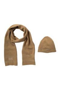Michael Kors Stud Stripe Hat Scarf Set Camel Silver Retail price $88 New