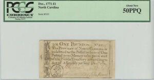 1771 1 Pound Dec, North Carolina Colonial  Note PCGS AU50 PPQ About New
