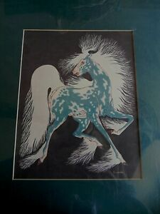 """Woody Crumbo Signed Authentic """"Ghost Horse"""" Print with COA"""