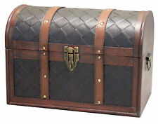 New Vitiquewise Wooden Leather Treasure Chest, QI003016
