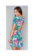 Show Me Your MuMu Ladies Ibiza Mini Lady Luau Stretch Pink Flower Mini Dress-L