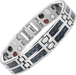 Willis Judd® Men's Carbon Fiber Titanium Magnetic 4 Element Bracelet 2x Strength
