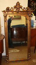 Great Gold Gilded Carved Figural Italian Tall Mantel Mantle Mirror C1920