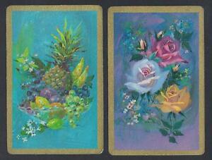 #930.737 vintage swap card -EXC pair- Roses & Fruit, gold borders