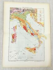 1881 Antique Military Map Geological Survey of Italy Italian Geology