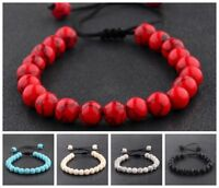 Couples Men Women Beads Turquoise Howlite Agate Macrame Weaving Bracelets
