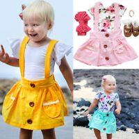 Summer Cute Baby Kids Girl Toddler Suspender Skirt Overalls Dress Clothes Outfit