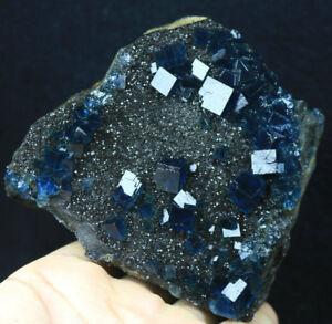 New Find NATURA Rare Vivid Blue Cube FLUORITE Mineral Specimen/China  500g