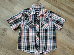Boy's Wrangler XS 3-4 plaid red blue Western Pearl Snap Button Up Shirt rodeo
