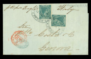 PUERTO RICO 1878 K.Alfonso 25c gr Sc 20x2 on neat British STEAMSHIP cvr to ITALY