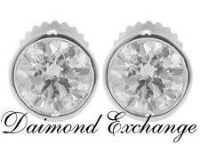 1.90 CT Round Cut Diamond Stud's Earrings Bezel Setting In 18 Kt White Gold
