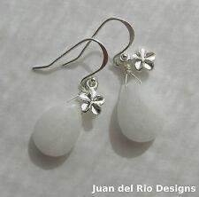 925 *White Plumeria* echte Nephrit Jade Ohrringe Frangipani Blüten Charms weiss