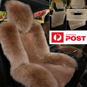 1x Car Front Seat Cover Winter Universal Red Genuine Australian Sheepskin Fur AU