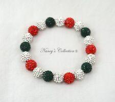 10mm Christmas Shamballa Elastic Bracelet 20 beads
