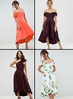ASOS™ $103 DESIGN Bardot Cold Shoulder Dip Midi Prom Dress Lemon/Coral/Aubergine