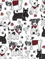 """Timeless Treasures C4672 Scribble Dogs 100% cotton 44"""" fabric by the yard"""
