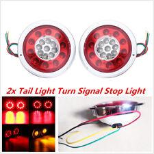 2Pc 4.3'' Round 19 LED Truck Trailer Lorry Brake Stop Turn Tail Light Waterproof