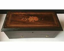 Antique Victorian Rosewood Marquetry Inlaid Cylinder Music Box Working 5 Songs