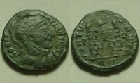Helmeted Constantine I/very rare genuine ancient Roman coin Camp-gate Rome mint