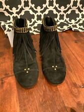 Jerome Dreyfuss Black Suede Ankle Booties W/ Gold Chain & Fringe Size 7 US 37 EU