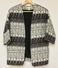 H&M Womens Black Gray Jacquard Woven Oversized Short Sleeve Blazer Jacket 4