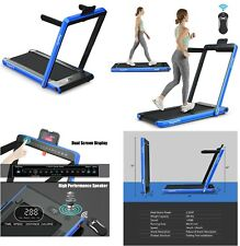 Folding Treadmill Working Machine Cardio Fitness Exercise Incline Bluetooth LED