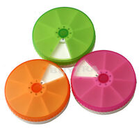 7 Day Weekly Tablet Pill Medicine Box Case Holder Container Round ;~