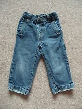 Boys George Denim Jeans Adjustable Waist Blue-Black Turn-ups Age 18-24 months