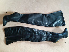 """Superb 6"""" High Heel Full Zip Faux Leather Thigh Crotch Boots 10 44 12.5 Fetish"""