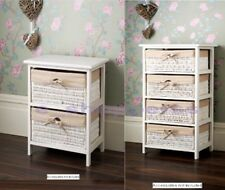 JULIET 2/4 DRAWER WICKER BASKET UNIT STORAGE CHEST WHITE NATURAL LINING HOME