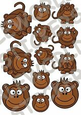 12 ADESIVI FINESTRA SCIMMIE WINDOW STICKERS 3 SCIMMIETTE VETRI TRE MONKEY FUNNY