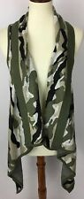 Say What Open Front Long Drape Racerback Vest Army Green Camo Size Medium