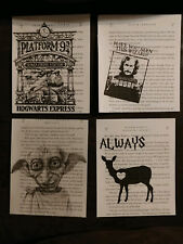 Harry Potter book page prints, Set of Four, Harry Potter Home Decorations