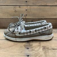 Sperry Top-Sider Womens Boat Shoes Beige Striped Moc Toe Lace Up Leather 7 M