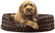 Furhaven Round Pet Beds for Small, Medium, Large (Pack of 1), Plush Chocolate