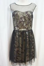 Vera Wang Dress Sz 8 Black Gold Floral Mesh Metallic Evening Party Cocktail