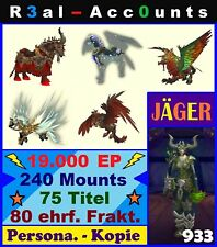WoW Account Legion Jäger 933 240 Mounts 19k EP A'dal World of Warcraft Highend