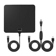 Amplified HDTV TV Antenna 50 Miles Black Digital Indoor Signal Amplifier Booster