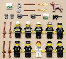 x10 NEW Lego CITY Minifigs Policemen Firemen COPS POLICE FIRE GUYS w/ Robber