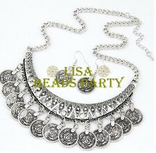 Fashion Charm Jewelry Coin Shape Pendants Chain Bib Silver Necklace