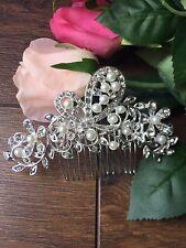 Silver Art Deco Hair Comb Grecian Flower Wedding Comb Bridal Headpiece Hair A