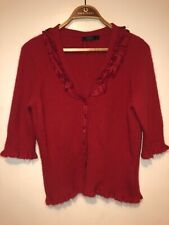 Ladies Coast Cardigan Size 14 Angora Wool Silk Christmas Festive Soft Buttons
