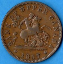 Province of Canada 1857 One Penny Colonial Bank Token Breton 719 PC-6D