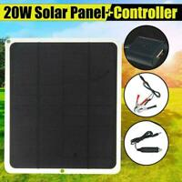 12V 20W Outdoor Car Boat Yacht Solar Panel Trickle Power Supply Charger F7K2